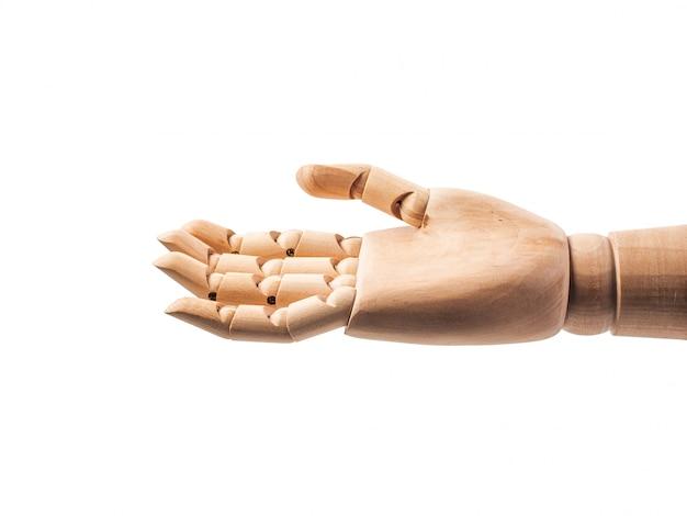 Main de poupée en bois faire des doigts pour toucher le blanc