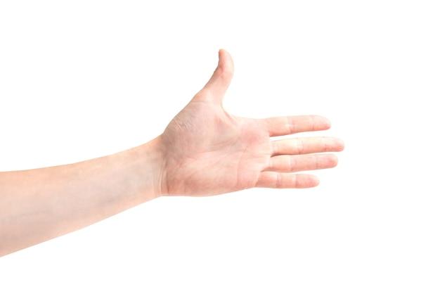 Main pour poignée de main isolé sur fond blanc
