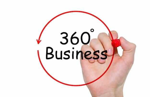Main qui écrit inscription 360 degrés business avec marqueur, concept