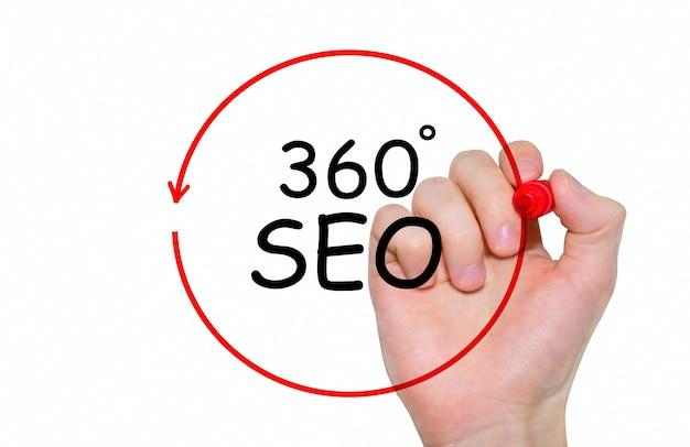 Main qui écrit inscription 360 degrés seo avec marqueur, concept