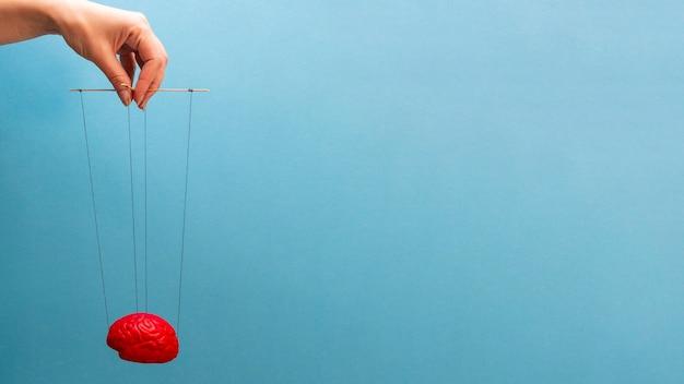 La main qui manipule le cerveau sur des cordes