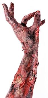 Main réaliste de zombie ou de mort vivant, thème du jour des morts ou d'halloween, surface blanche isolée.