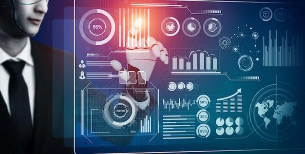 Main de robot analysant les données