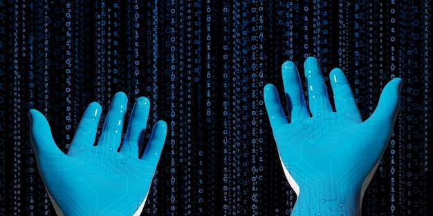 Main de robot bleu avec bibliothèque de code binaire concept présenté à l'ère numérique