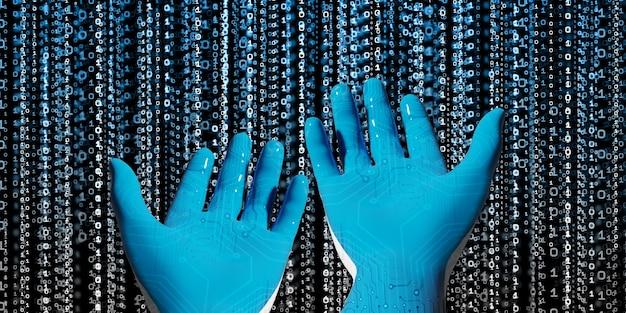Main de robot bleu avec bibliothèque de code binaire idées présentées à l'ère numérique