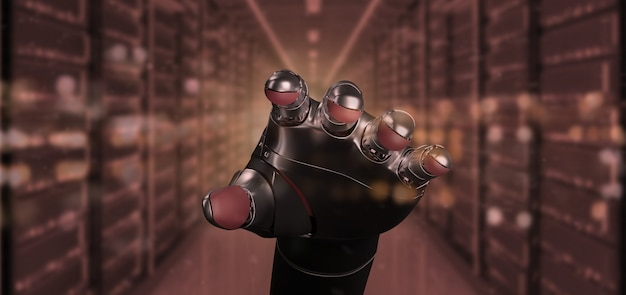 Main de robot cyborg virus rouge - rendu 3d