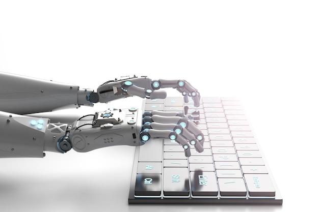 Main de robot de rendu 3d travaillant avec le clavier d'ordinateur