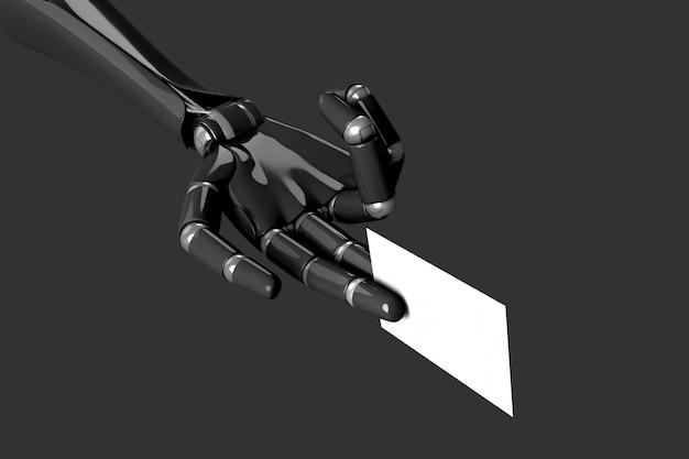 Main de robot tenant une carte de visite vide