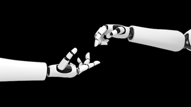 Main de robot touchant une autre main de robot