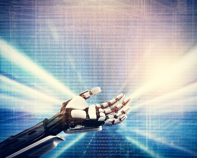 Main robotique sur fond bleu technologique.