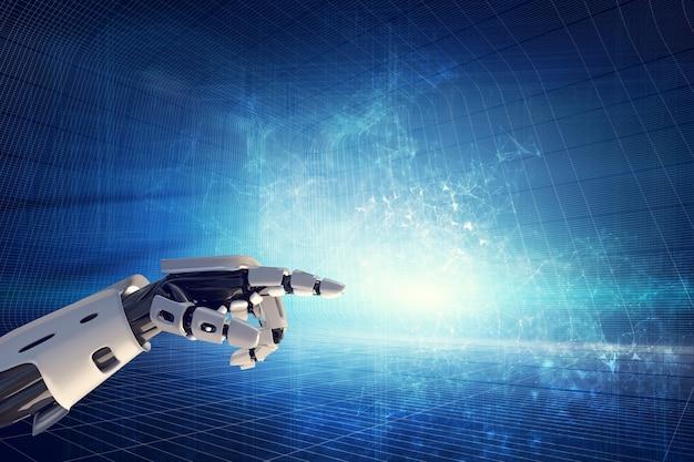 Main robotique sur fond moderne.
