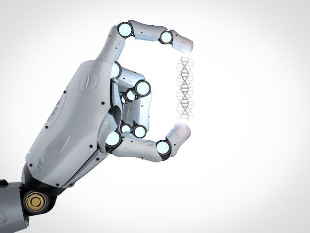 Main robotique de rendu 3d tenant l'hélice d'adn