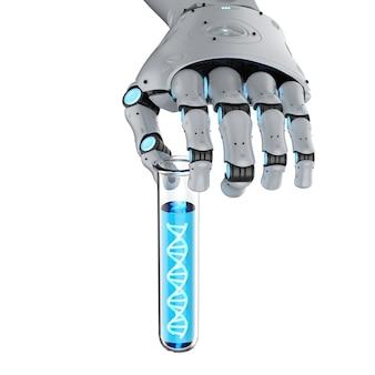 Main robotique de rendu 3d tenant le tube à essai avec l'hélice d'adn