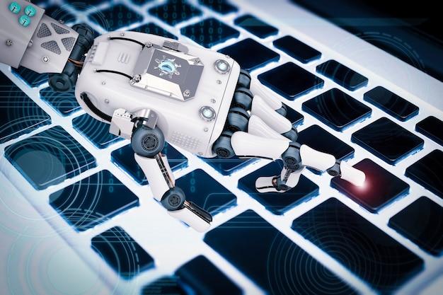 Main robotique de rendu 3d travaillant avec le clavier
