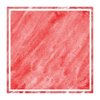 Main rouge dessiné texture d'arrière-plan aquarelle cadre rectangulaire avec des taches