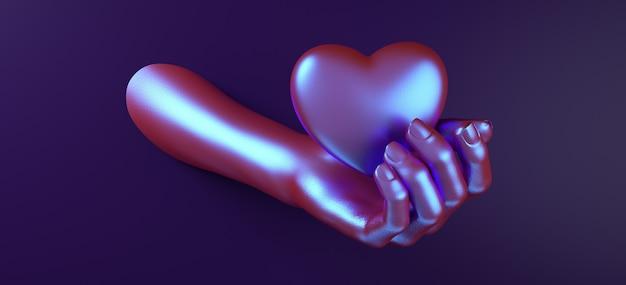 Main de saint valentin tenant coeur fond rendu 3d illustration. mise à plat de couleur néon holographique