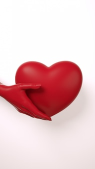 Main de saint valentin tenant fond de coeur. couleur rouge foncé sur une couche plate blanche. carte de voeux d'amour