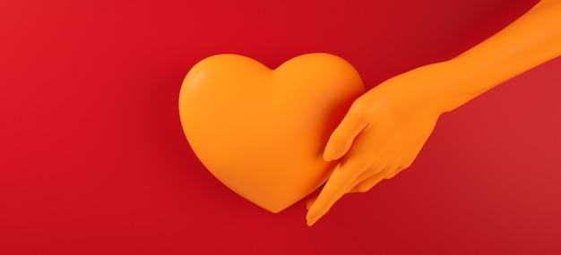 Main de saint valentin tenant le motif de fond de coeur rendu 3d illustration. mise à plat de couleur rouge audacieux. carte de voeux d'amour, affiche, modèle de bannière pour la fête