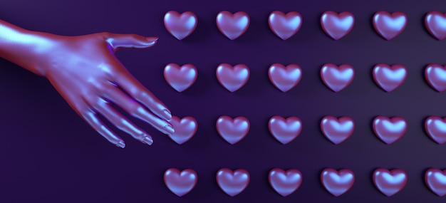 Main de saint valentin toucher coeur motif fond rendu 3d illustration. mise à plat de couleur néon holographique.