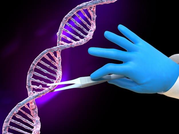 Main scientifique avec des gants prenant un morceau d'adn avec des pincettes médicales