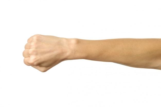 Main serrée dans un poing. main de femme gesticulant isolé sur blanc