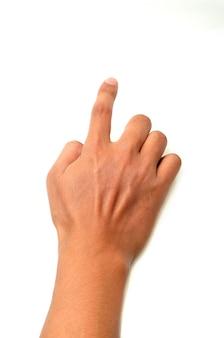 Main simulant une pression sur un bouton. isolé sur fond blanc
