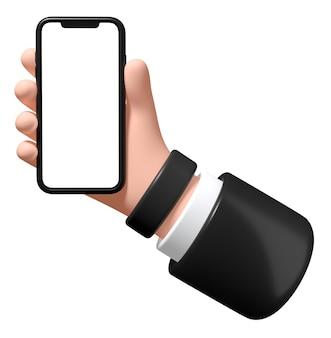 Main avec un smartphone sur un fond blanc l'homme d'affaires d'illustration 3d tient un téléphone dans sa main