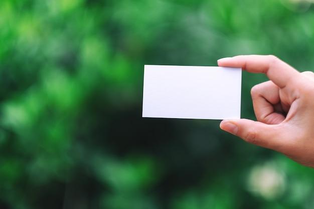 Une main tenant une carte de visite vierge blanche avec fond de nature verte