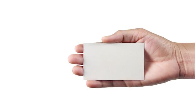Main tenant une carte de visite vierge
