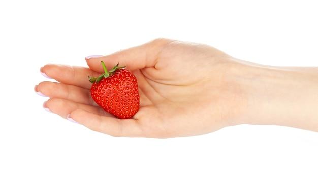 Main tenant une fraise isolé sur fond blanc. fermer.