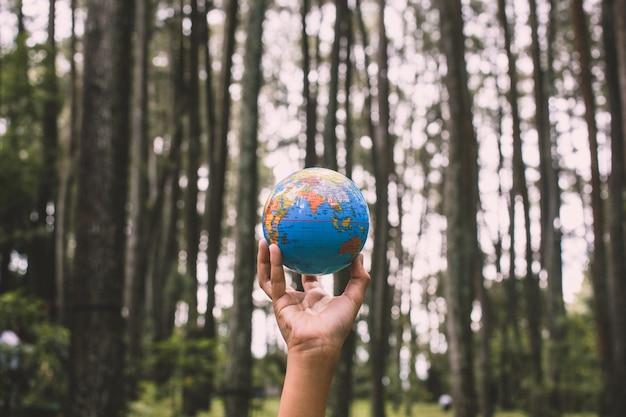Main tenant le globe terrestre avec forêt d'arbres flous