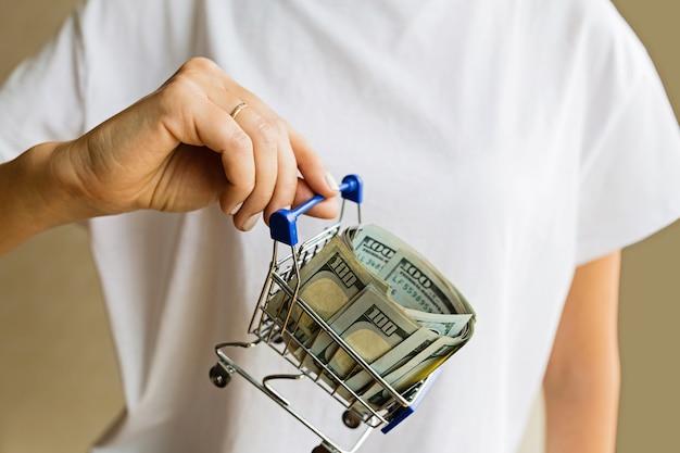 Main tenant le panier d'épicerie avec de l'argent en espèces