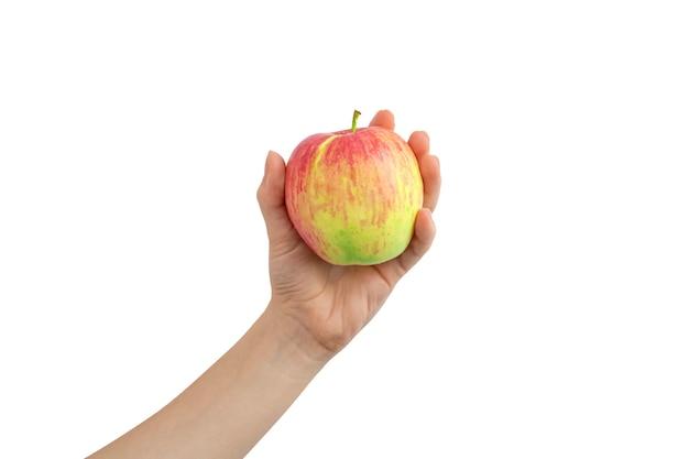Main tenant la pomme rouge isolé sur une photo de fond blanc