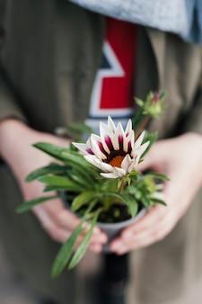 Main tenant un pot de fleurs