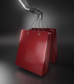 Une main tenant un sac à provisions se bouchent. rendu 3d.