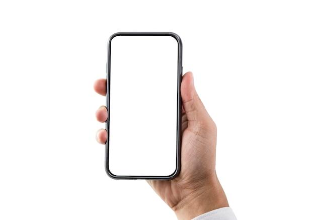 Main tenant le smartphone avec écran blanc blanc isolé