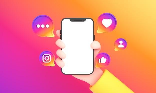 Main tenant le téléphone avec des icônes de médias sociaux et le logo instagram et comme pour la maquette du téléphone