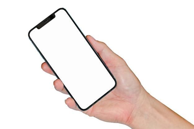 Main tenant un téléphone intelligent sans cadre moderne pour la conception de site web de présentation ou d'application de téléphone