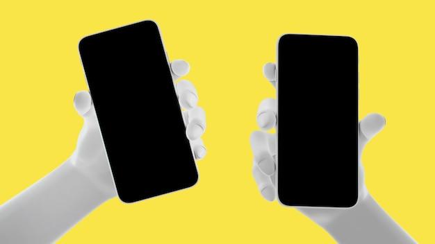 Main tenant le téléphone, isolé sur fond jaune. illustration 3d. ensemble de concept de maquette de médias sociaux, d'applications, de messages et de commentaires.
