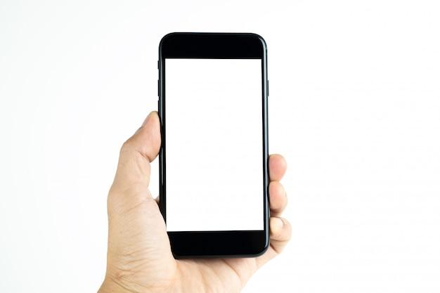 Main tenant un téléphone portable avec un écran blanc