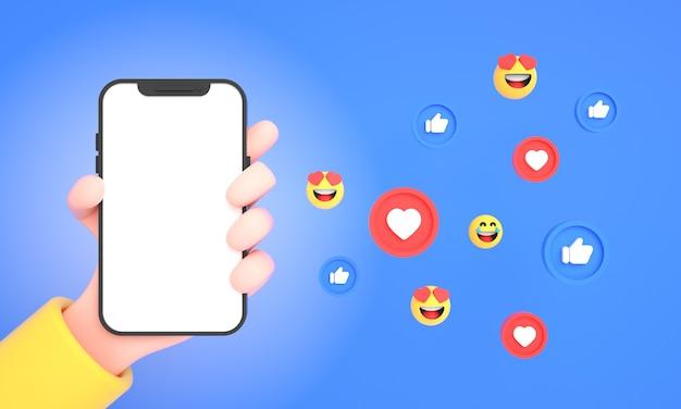 Main tenant un téléphone portable avec des icônes de médias sociaux et des emojis pour la maquette du téléphone