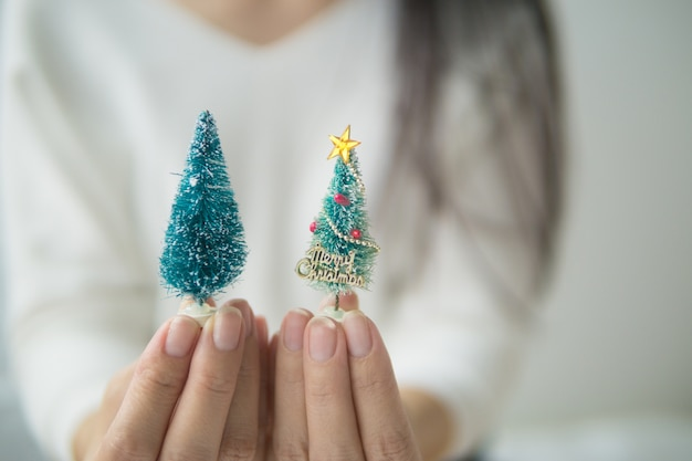 Main tenir l'arbre de noël, cadeau de vacances.