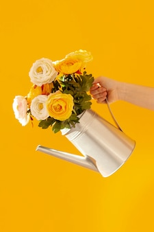 Main, tenue, fleur, pot
