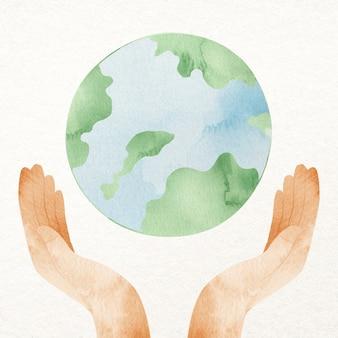 Main de la terre mettant en coupe notre élément de conception de planète