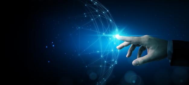 Main touchant la conception numérique de cercle réseau abstrait