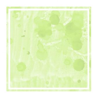 Main vert clair dessiné texture d'arrière-plan aquarelle cadre rectangulaire avec des taches