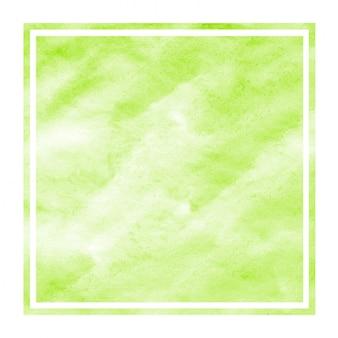 Main vert clair dessiné texture de fond aquarelle cadre rectangulaire avec des taches