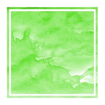 Main verte dessiné texture d'arrière-plan aquarelle cadre rectangulaire avec des taches