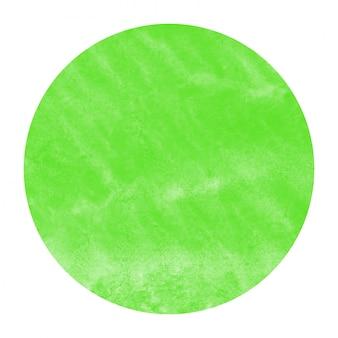 Main verte dessinée texture d'arrière-plan aquarelle cadre circulaire avec des taches