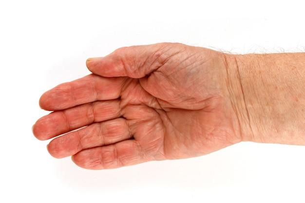 Main vide et paume du retraité senior isoler close-up